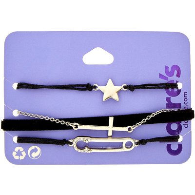 4-Pack Black and Silver-Tone Charm Bracelets