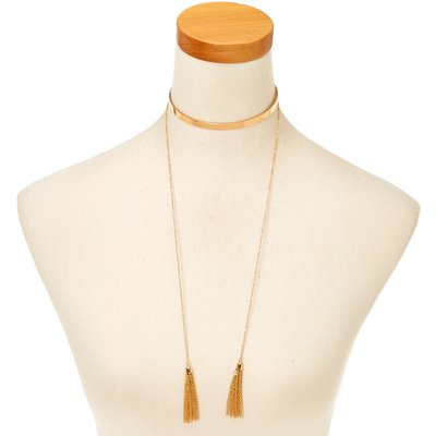 Golt-Tone Choker Necklace with Tassles