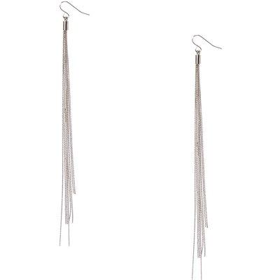 Silver-Tone Long Multi-Strand Drop Earrings
