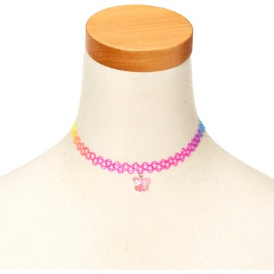 Rainbow Tattoo Choker Necklace with Butterfly Charm