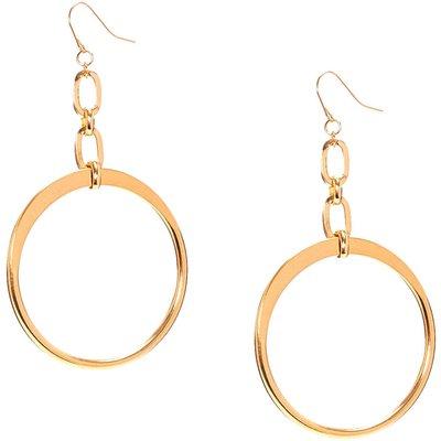 Gold-Tone Open Circle Drop Earrings