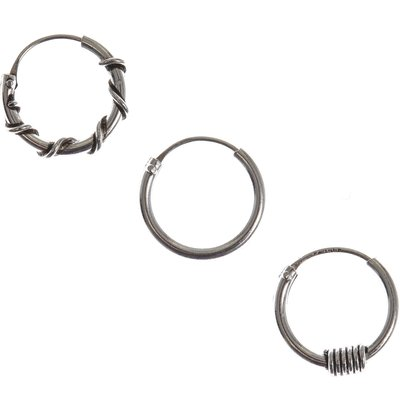 3 Pack Mixed Textured Piercing Hoops