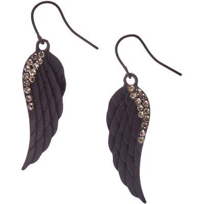Matte Black Angel Wing Drop Earrings