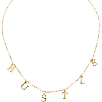 Gold-Tone HUSTLE Text Necklace