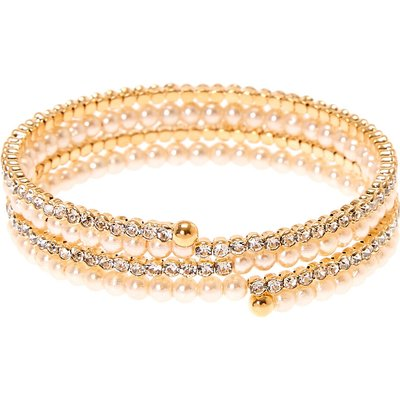 Gold Faux Pearl & Crystal Bangle