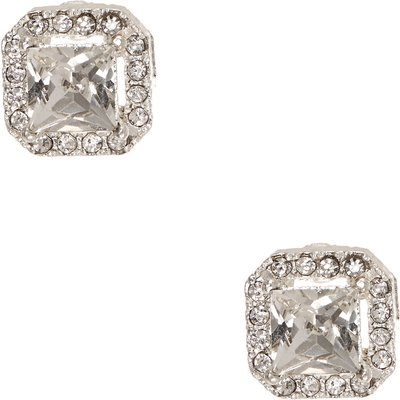 Crystal Framed Square Clear Crystal Stud Earrings