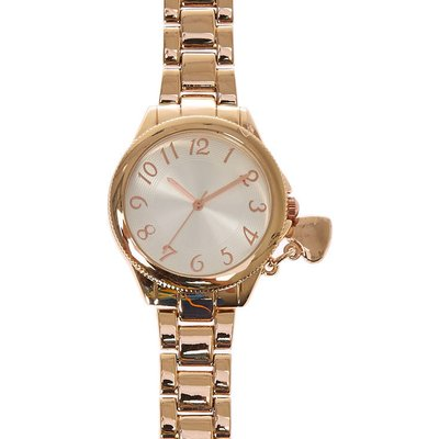 Rose Gold-Toned Heart Charm Watch