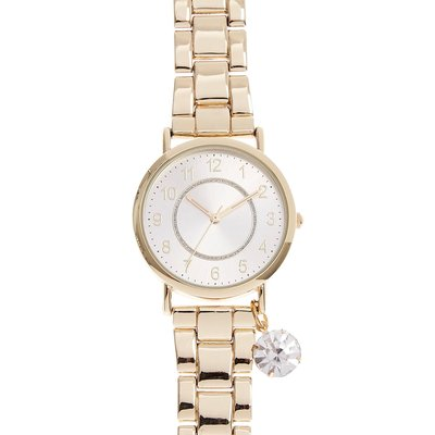 Gold-Tone Watch with Simulated Rhinestone Charm