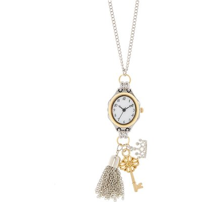 Silver-Tone Long Watch Charm Necklace