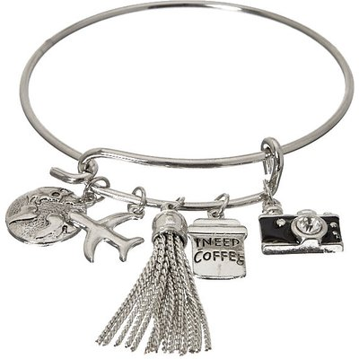 Silver-Tone Travel Charm Bangle Bracelet