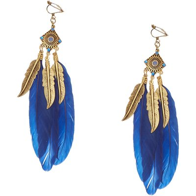 Burnished Gold-tone and Navy Feather Clip-on  Drop Earrings