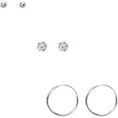 925 Sterling Silver Fireball Stud Earrings 3 Pack