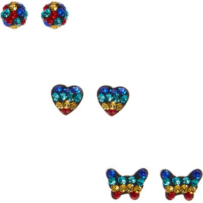 3 Pk Rainbow Fireball Sterling Silver Stud Earrings