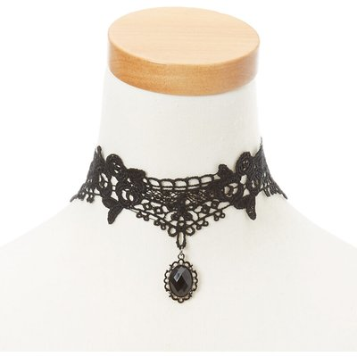 Black Lace Pendant Choker Necklace
