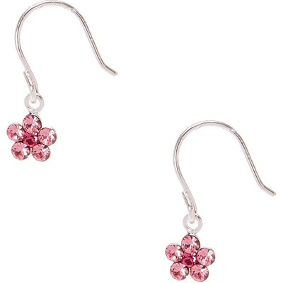 Sterling Silver Pink Crystal Daisy Drop Earrings