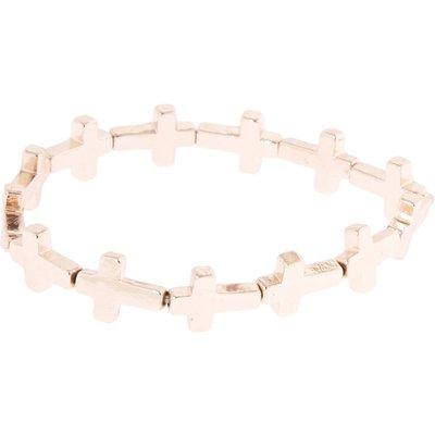 Rose Gold-Tone Stretch Cross Bracelet