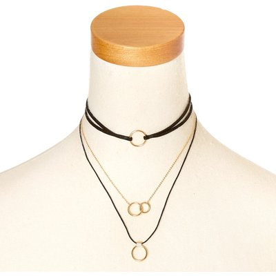 Black & Gold Multi Choker Necklace
