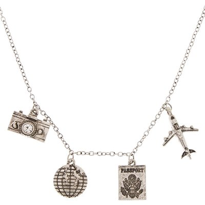Silver-Tone Travel Charm Necklace