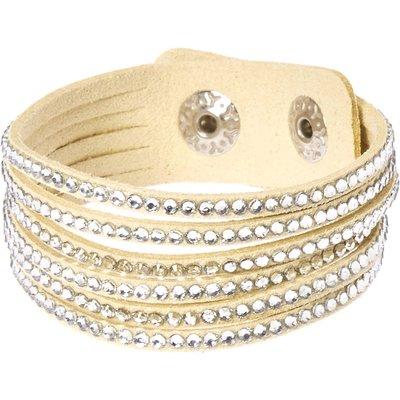 Cream and Silver Gem Snap Button Bracelet