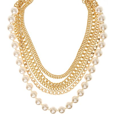 Gold-Tone Multi-Layer and Faux Pearl Chunky Necklace