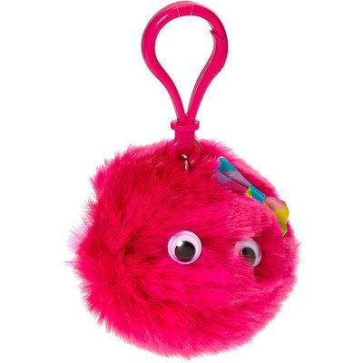 Hot Pink Googly Eyed Pom Keyring Clip Flavoured Lip Gloss