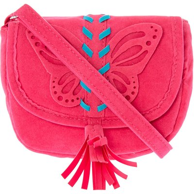 Kids Pink Faux Suede Butterfly Crossbody Bag