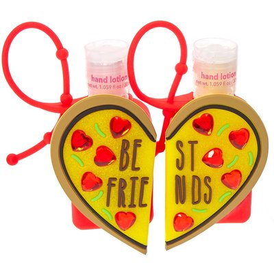 Best Friends Pizza Heart Holders with Scented Hand Lotion