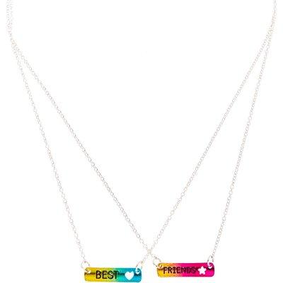 Best Friends Metallic Rainbow Bar Pendant Necklaces