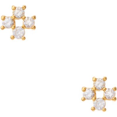 Cubic Zirconia Cross Stud Earrings