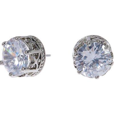 10MM Silver Crown Set Round Cubic Zirconia Stud Earrings