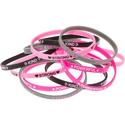 Best Friends Black, Grey and Pink Girl Power Bracelets