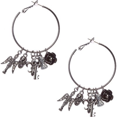Black Hoop with Gothic Charm Earrings