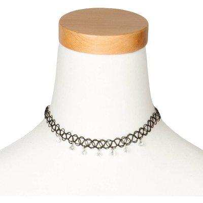 Crystal Charm Tattoo Choker Necklace