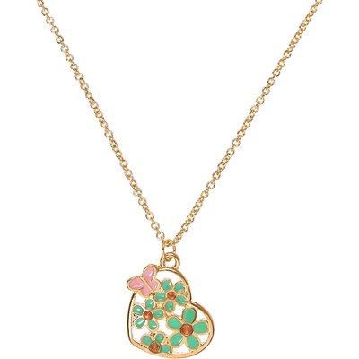 Gold-tone Mint Flower Heart Pendant Necklace