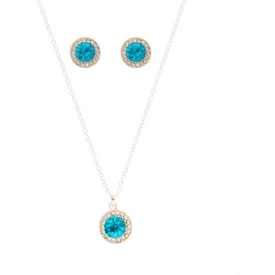Vintage Style Silver & Blue Stone Jewellery Set