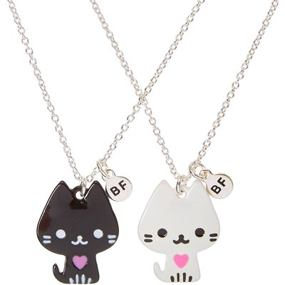 Best Friends Black and White Cat Pendant Necklaces