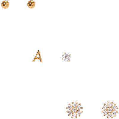 18k Gold Plated A Initial Stud Earring Set