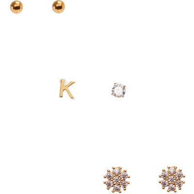 18k Gold Plated K Initial Stud Earring Set