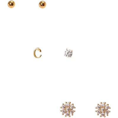 18k Gold Plated C Initial Stud Earring Set