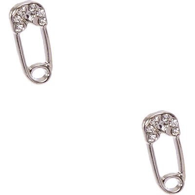 Silver-tone Safety Pin Stud Earrings