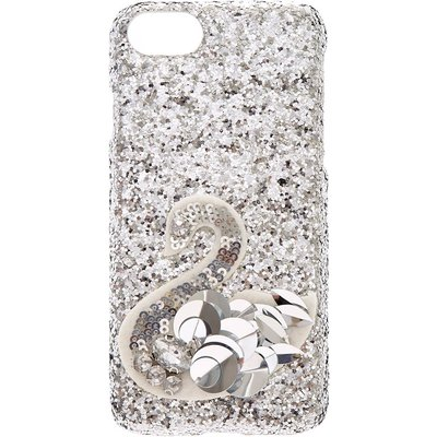 Silver Sequin Swan Phone Case