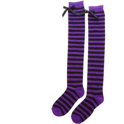 Black & Purple Striped Knee High Socks