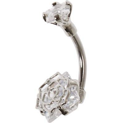 Cubic Zirconia Flower Caged Belly Bar