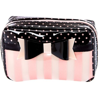 Small Paris Polka Dot and Striped Cosmetic Bag
