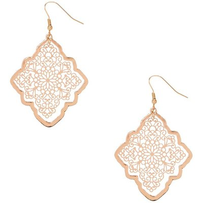 Gold-Tone Diamond-Shaped Filigree Earrings