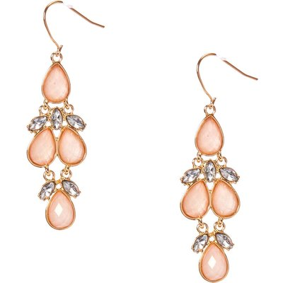 Gold-Tone and Blush Gem Dangle Earrings