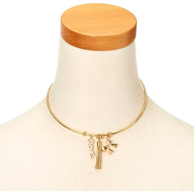 Gold-Tone Love Charm Metal Choker Necklace