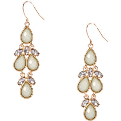 Mint and Gold-Tone Drop Earrings