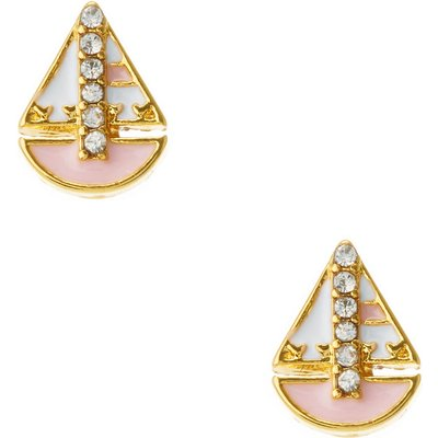 18kt Gold Plated Pink Sail Boat Stud Earrings