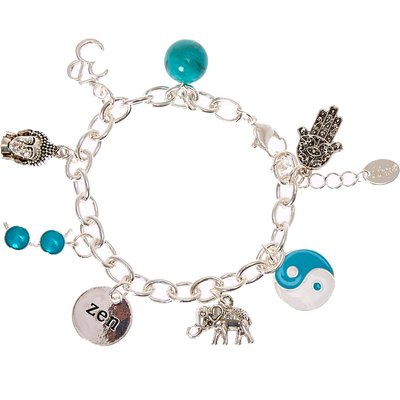 Silver-Tone and Turquoise Zen Charm Bracelet